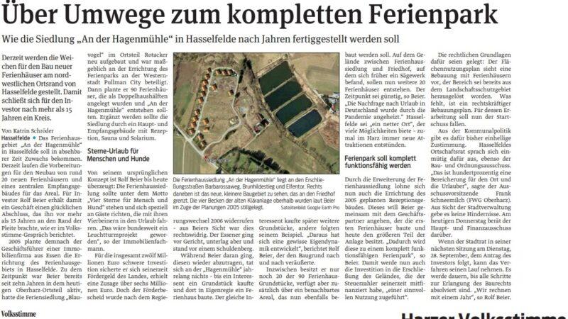 """Ferienpark """"An der Hagenmühle"""" in Hasselfelde wird fertiggestellt"""